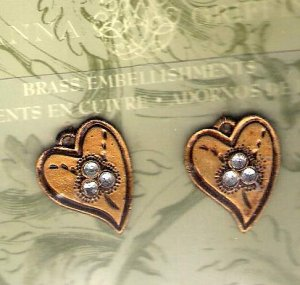Vintage look goldtone and rhinestone heart embellishments Anna Griffin for Provo Crafts MOC
