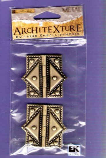 Antique look brass working hinges set of two Architexture embellishments MOC