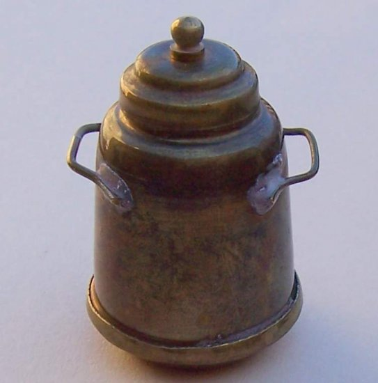 Vintage miniature brass urn kettle for shadowboxes dollhouse