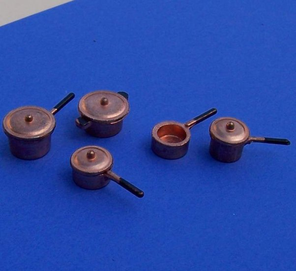 Dollhouse miniatures copper cookware set new with lids