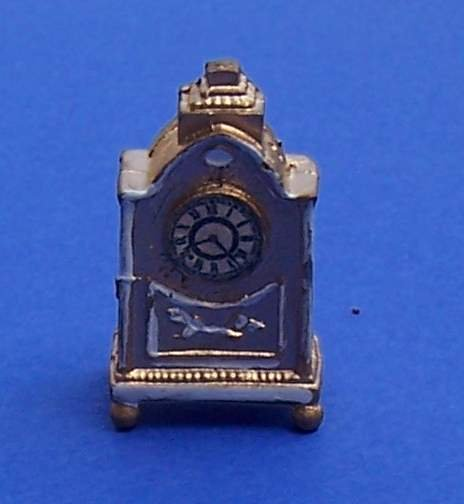 Dollhouse miniature metal Victorian style mantel clock new