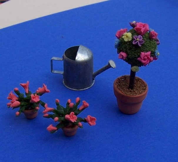 Dollhouse miniatures topiary pot plants watering can handmade new