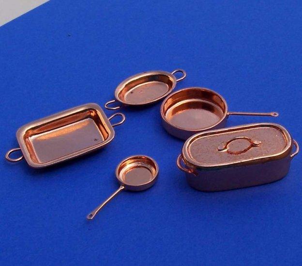 Dollhouse miniatures genuine copper cookware set new