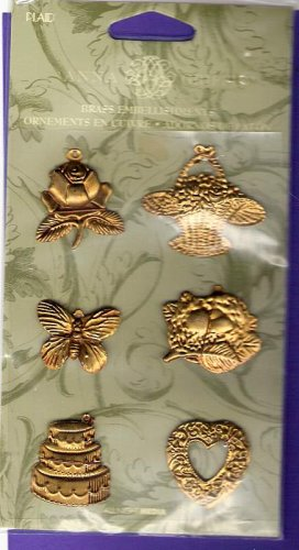 Floral design brass stampings Anna Griffin All Night Media MIP butterfly flower hearts baskets