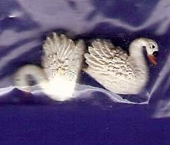 Dollhouse miniatures two tiny swans for the pond or garden