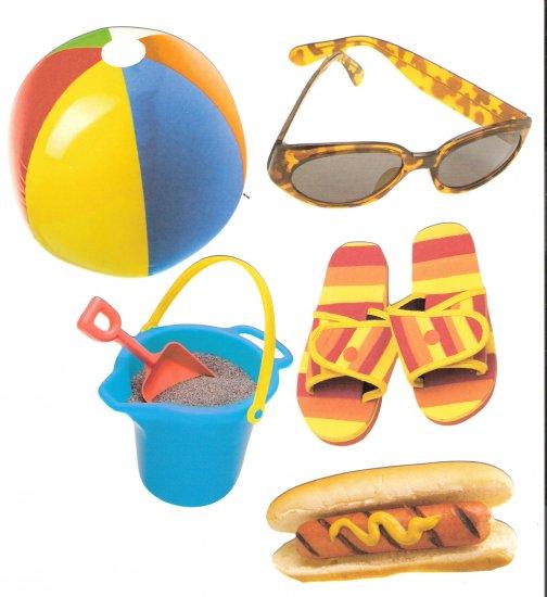Beach diecuts sandpail beachball sunglasses  hotdog flipflops