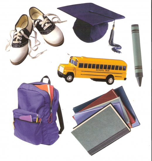 School theme diecuts books bus mortarboard graduation shoes backpack