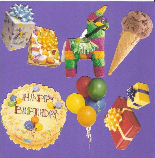 Birthday theme diecuts gifts cake balloons ice cream pinata