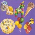 Birthday theme diecuts gifts cake balloons ice cream pinata