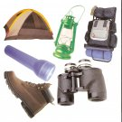 Camping theme diecuts binoculars tent boots lantern backpack