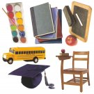 School theme diecuts books desk bus blackboard paints mortarboard