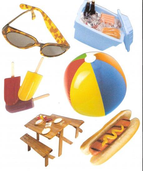 Picnic theme diecuts picnic table cooler hotdog beachball popsicles