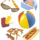 Picnic theme diecuts picnic table cooler hotdog beachball popsicles