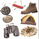 Outdoors theme diecuts compass binoculars tent campfire boot pocketknife