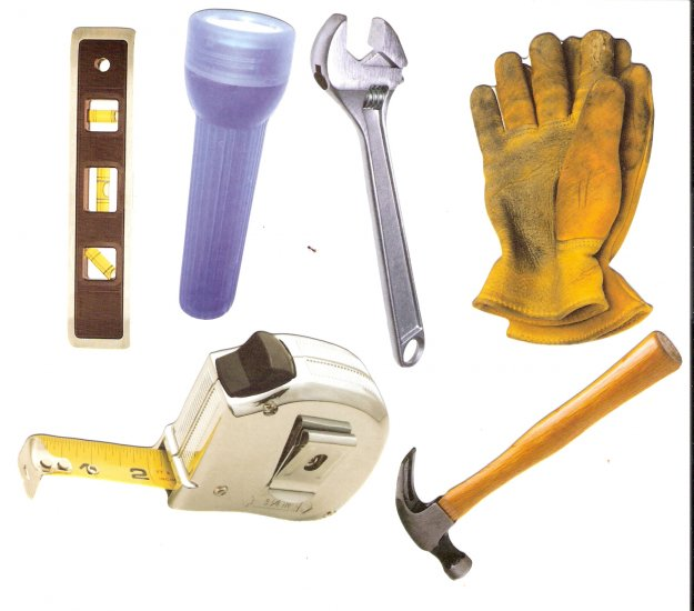Handyman theme diecuts gloves tape measure level flashlight hammer