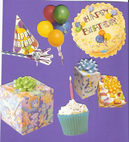 Birthday party theme diecuts gifts cake hat balloons cupcake