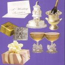 Wedding theme diecuts cake champagne gifts invitation