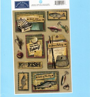 Fishing theme stickers signs lures vintage look Karen Foster