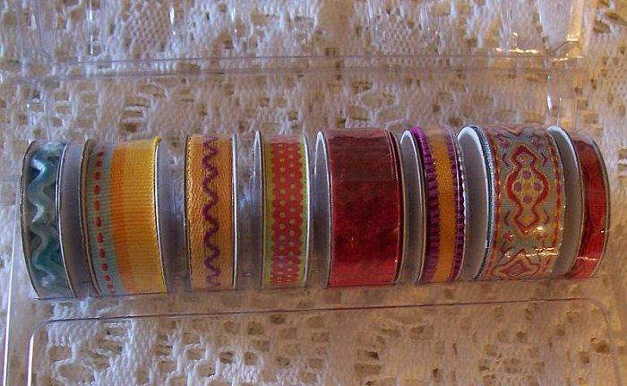 8 mini spools of scrapbook ribbon in red gold teal MIP