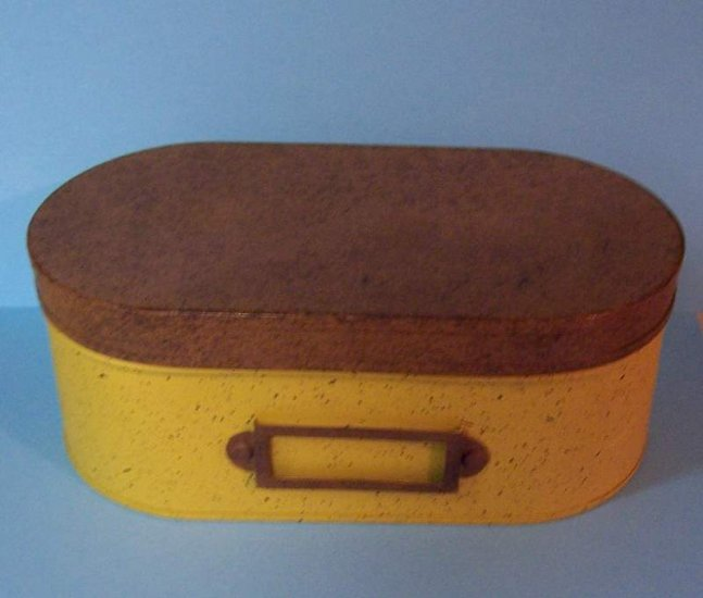 Oval enamelware box with label holder on front-mint