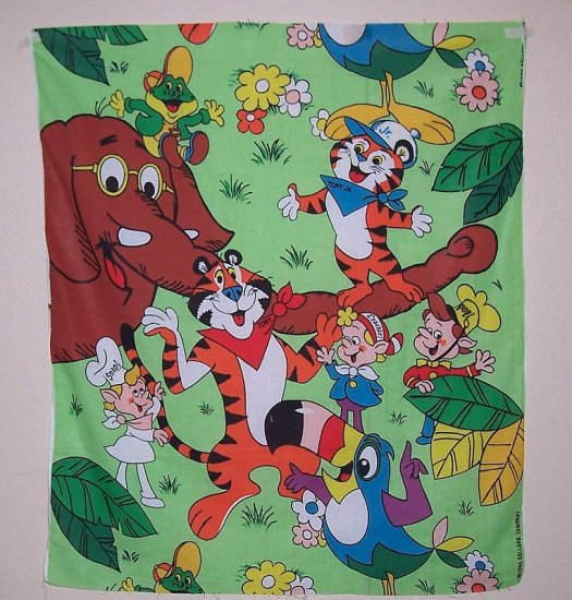 Kelloggs Cereal characters fabric panel circa 1980