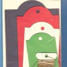 12 cardstock tags assorted sizes blue red white green with cord MIP
