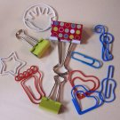 Metal Novelty clips and fasteners red blue green