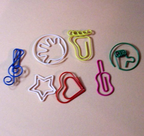 Novelty paper clips guitar heart hands feet stars treble clef assorted colors
