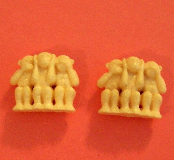 Classic 3 monkeys evil celluloid bead or figurine vintage