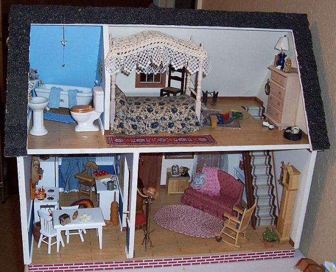 Complete dollhouse 4 decorated rooms OOAK