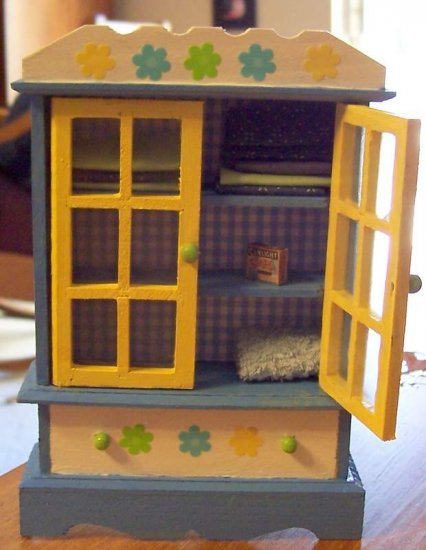 Dollhouse linen cabinet hand painted one of a kind