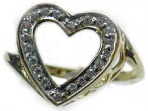 25 tcw Genuine Diamond 14K Gold Heart Ring ( Ladies diamond)