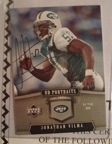 2005 Upper Deck Portraits Jonathan Vilma signed card w/COA