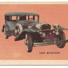 1929 Ruxton automobile trading card - undated - 1950's? EX