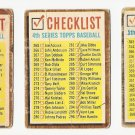 1962 Topps baseball card #192, 277, 367 Check lists for series 3, 4, 5, all marked, fair to good