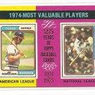 1975 Topps baseball card #212 (C) 1974 MVP's Jeff Burroughs & Steve Garvey NM