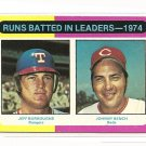 1975 Topps baseball card #308 (B) RBI Leaders JeffBurroughs & Johnny Bench