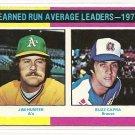 1975 Topps baseball card #311 ERA Leaders Jim Catfish Hunter & Buzz Capra NM