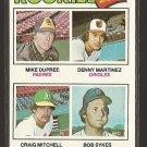 1977 Topps baseball card #491 Rookies Dennis Martinez, Mike Dupree, Craig Mitchell, Bob Sykes NM