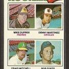 1977 Topps baseball card #491 (B) Rookies Dennis Martinez, Mike Dupree, Craig Mitchell, Bob Sykes NM