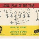 1964 Philadelphia (Philly) football card #70 Detroit Lions vs Chicago Bears NM but has stained edge