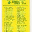1967 Philadelphia (Philly) football card #197 Checklist 1 VG - marked