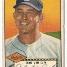 1952 (original) Topps baseball card #53 (C) Chris Van Cuyk VG- black back