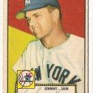 1952 (original) Topps baseball card #49 Johnny Sain (corrected) VG red back