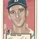 1952 (original) Topps baseball card #33 (B) Warren Spahn VG black back
