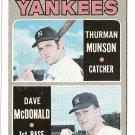 1970 Topps baseball card #189 Thurman Munson & Dave McDonald RC Yankees rookie VG/EX
