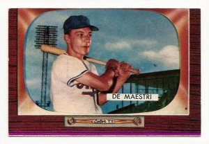 1955 Bowman baseball card #176 (B) Joe De Maestri NM (miscut)