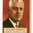 1956 Topps baseball card #1 William Harridge VG (corner crease) President - American league