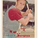1957 Topps baseball card #228 Smoky Burgess G/VG (ink all over front)