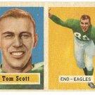 1957 Topps football card #25 Tom Scott EX Philadelphia eagles